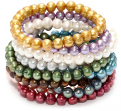 Honora Set of 10 Multi-colour Freshwater Cultured Pearl Stretch Bracelets, 19.1cm