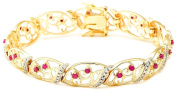 18k Yellow Gold Plated Sterling Silver Ruby and Diamond Accent Bracelet, 18.4cm