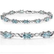 7 1/2 ct Sky Blue Topaz Infinity Tennis Bracelet set in Sterling Silver