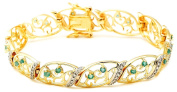 18k Yellow Gold Plated Sterling Silver Emerald and Diamond Accent Bracelet, 18.4cm