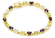 Yellow Gold Plated Sterling Silver Multi-Gemstone Bracelet, 17.8cm