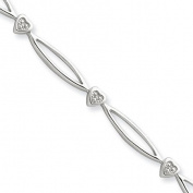 Diamond Heart Loop Tennis Bracelet in Sterling Silver -17.8cm