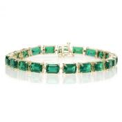 10k Yellow Gold Emerald Cut Created Emerald Bracelet, 17.8cm