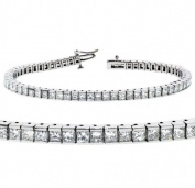 5.00 CT TW Channel Set 100% Natural Princess Cut Diamond Tennis Bracelet in 14k White Gold