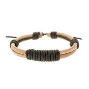LIGHT BROWN Two Strands Wide Knotted Leather Bracelet Women Mens Adjustable 6.5 to 24.1cm