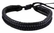 Black Braided Leather Bracelet / Leather Wristband / Surf Bracelet, #130