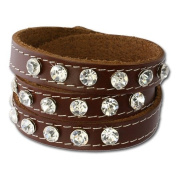 SilberDream leather bracelet brown with Zirkonia, women, leather bracelet genuine leather LAP228B