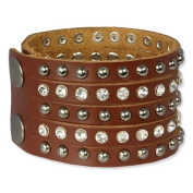 SilberDream leather bracelet brown with Zirkonia and rivets, women, leather bracelet genuine leather LAP231B