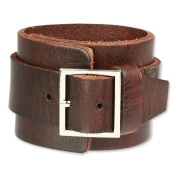 SilberDream leather bracelet brown, unisex,with metal cap, leather bracelet genuine leather LAP014B