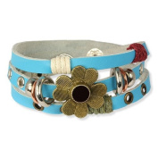 SilberDream leather bracelet turquoise with rivets and a flower for woman, teens and girls genuine leather LA2913T