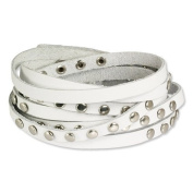 SilberDream leather bracelet white with rivets, unisex, genuine leather LA2250W