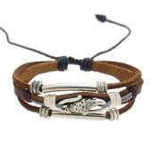 SWEETIE 8 Women Mens Girls Pendant Leather Bracelet Pull Cords Adjustable 6.5 to 25cm