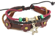Beaded Five Strand Zen Leather Bracelet with a Metallic Star Charm, Three Red Leather Flowers Attached to Dark Brown Leather, Colourful Wooden Beads Combined with Light Brown, and Dark Brown Hemp.