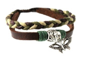 Butterfly Bead Leather Zen Bracelet - Adjustable, Fits 5.5 to 22.9cm , for Men, Women, Teens, Boys and Girls in Gift Box