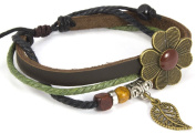Beaded Three Strand Zen Leather Bracelet with a Bronze Coloured Leaf Charm, Antique Bronze Coloured Flower Centrepiece, Colourful Wooden Beads and Chrome Coloured Spacers Beads on Black Hemp Accented with One Strand of Green Hemp.