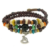 Hollow Heart Pendant Wood Beads Wrapped Bracelet Adjustable 7.5 to 20.3cm