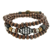 Oval Engraved Wood Beads Wrapped Bracelet Adjustable 7.5 to 20.3cm