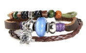 Turtle Bead Leather Zen Bracelet With Iridescent Blue Bead - Adjustable, Fits 5 to 20.3cm , for Men, Women, Teens, Boys and Girls