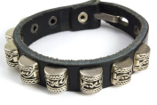 Ultra High Quality Thick 20.3cm Zen Leather Bracelet Studded with Antique Silver Colour Barrel Beads with Beautiful Engraved Floral Design Mounted on Thick Black Leather. Fits 4.5 to 19.7cm Wrist. Foil Gift Box With Bow Included)