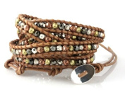 """Spice"" Wrap Bracelet in Gold, Silver, Copper and Hematite Faceted Beads on Genuine Tan Leather"