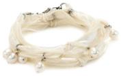 "Ettika ""Vintage Ribbon"" Cream Wrap Bracelet Silver Pearl Drops"