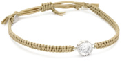 Tai. Crystal Hand Braided Beige Adjustable Cord Bracelet