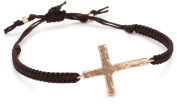 Tai Rose Gold Cross, Brown Cord Easy Pull Bracelet