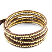 Chan Luu Gold Vermeil Nugget Wrap Bracelet on Brown Leather