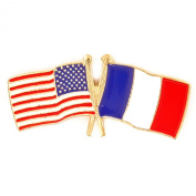 USA and France Crossed Friendship Flag Lapel Pin