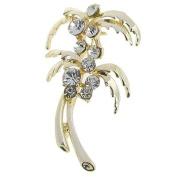 Rosallini Woman Dress Glitter Rhinestone Decor Flower Pin Brooch