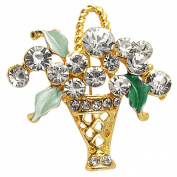 Rosallini Ornament Teal Leaf Flower Basket Rhinestone Pin Brooch