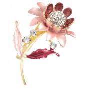 Rosallini Ladies Dress Ornament Rhinestone Decor Amaranth Sunflower Pin Brooch Broach Gift