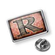 "Pin ""R"" Vintage"" characters, letter old rose - Lapel Badge - NEONBLOND"