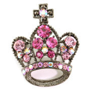 Pink Cross Princess Crown Tiara Pin Brooch Light Pink Stones Antique Silver Tone Jewellery