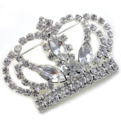 Princess Crown Tiara Brooch Pin Wedding Bridesmaid Clear Stone Crystal Silver Tone Costume Jewellery