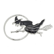 Black Witch Flying to the Moon on her Broom Brooch for Halloween