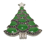 A New Classic Christmas Tree Brooch with Genuine Marcasite Garlands and Shiny Green Epoxy