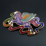 Gold-plated Chinese Cloisonne Pegasus Brooch