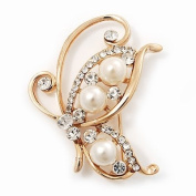 Delicate Pearl/Diamante 'Flying Butterfly' Brooch In Gold Plating - 4.5cm Length