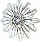 Silver Grey Petals Light Blue & Clear Coloured Crystal Centre Flower Brooch Pin