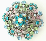 Blue, Green, Pink & Ab Crystal Brooch / Pendant on White Silk Ribbon Necklace