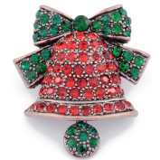 Christmas Bell & Bow Pin Brooch