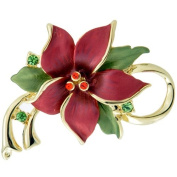 Red Poinsettia Christmas Star Flower. Crystal Pin Brooch and Pendant