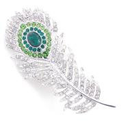 Emerald & Crystal Peacock Feather Brooch