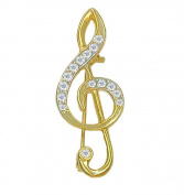 Willow Xpress CZ Goldtone Treble Clef Pin