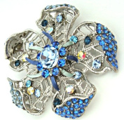Silver Plated Sapphire Blue Crystal Filigree Flower Floral Pendant Brooch Pin