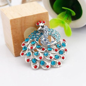 Rhinestone Crystal Peacock Design Brooch - Silver Plated/Blue