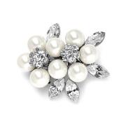 Soft Cream Pearl & Crystal Cluster Bridal Brooch