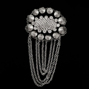 Fringed Oval Epaulette and Brooch with Rhinestones and Rivets