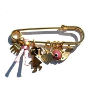 Golden Baby Girl Pin with Multiple Protection Charms in Pink